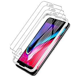 L K Pellicola Protettiva per iPhone 8/7, [3 Pezzi] [9H Durezza] [Curva 2.5D] [Kit d'Installazione] Pellicola Vetro Temperato