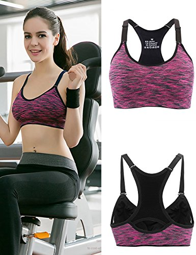 Aibrou Damen Sport BH Starker Halt Bustier Push Up Bra Top für Yoga Fitness Training Violett
