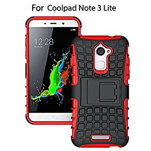 Heartly Flip Kick Stand Spider Hard Dual Rugged Shock Proof Tough Hybrid Armor Bumper Back Case Cover For Coolpad Note 3 Lite ( 5 Inch ) - Hot Red