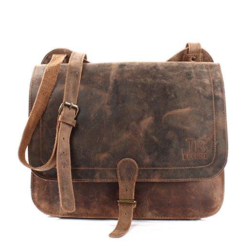 Leconi borsa per l'università grande borsa messenger din a4 per donna + uomo unisex borsa in vera pelle di buffalo borsa insegnante borsa da lavoro in look usato 36x29x8cm marrone le3020-vin