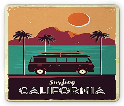 Retro Mouse Pad, Vintage Van with a Surfboard Driving in Tropical Landscape Colorful Sunset Scene, Standard Size Rectangle Non-Slip Rubber Mousepad, Multicolor