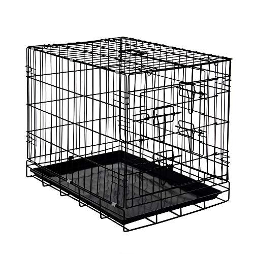 Zelsius Transportkäfig | Hundebox | Hundekäfig | Drahtkäfig für Hund Katze klein bis groß | S - XXL | mit 2 Türen | faltbar (S - 30 x 43 x 49 cm)