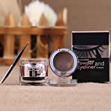 OverDose Wasserdichtes Augenbrauenpuder + Eyeliner Gel Set mit Definer Pinsel Grau