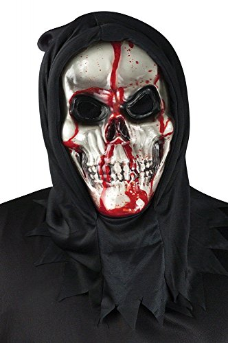 shoperama Blutende Totenkopf Maske mit Pumpe Halloween blutig Horror Skull Tod