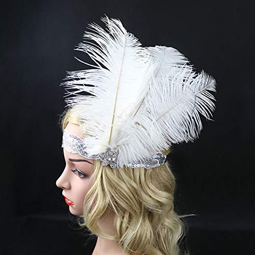 Federn, Flapper Kopfwickel, Haarschmuck mit Pailletten für Halloween, Weihnachten, Festivals, Party, auffälliges Kostüm. Free Size weiß ()