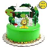 KiraKira Decorazioni Compleanno Jungle Party,Decorazioni Torta Compleanno, Compleanno re Leone, Topper Torta Buon Compleanno for Kids (Set di 14)