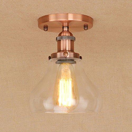 Hzcczx American Vintage Deckenleuchten Eisen Kunst Metall Deckenleuchte Glas Lampenschirm Innenleuchten 90-260V 40W E27 Sockel LED Dekoration Pendelleuchte -