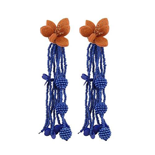 Kunststoff-Ohrringe 2018 Europa und die USA Sommer Burst Perlen Quasten Kunststoff Ohrringe Fashion Offizielle Website die gleiche modische neue Produkte marineblau