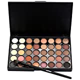 Xshuai Popfeel 40 Color Matte Eyeshadow Cream Palette Lasting Natural Shimmer Set+ Brush Cosmetic Makeup Set (40#1)
