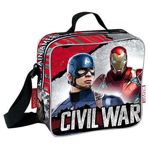 Marvel Civil War Justice Kühltasche / Lunchtasche mit Captain-America- und Iron-Man-Design (rot) (Man Lunch-box-iron)