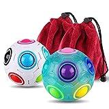 Coogam 2 Stück 3D Regenbogen Puzzle Ball Würfel Magie Regenbogen Ball Stress Linderung Zappeln Ball Zappeln Spielzeug für Kinder Erwachsene