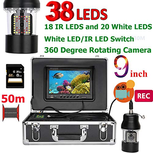 H&L Fish Finder,9 Inch DVR Recorder 360 Degree Rotating Camera Portable Fishing Video Waterproof IP68 Waterproof with 8GB SD Card,50Mcable Sonar-adapter