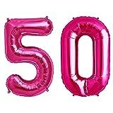 Simplydeko Folienballon Zahlen Set | Zahlenballons zum Geburtstag | Zahlen-Luftballons (Zahlenset 50 in Pink (41cm))