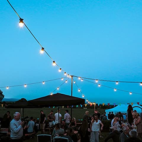 Outdoor Frosted Festoons - Extendable - 10 B22 Sockets - Warm White - 10m - LED Bulbs - by Festive