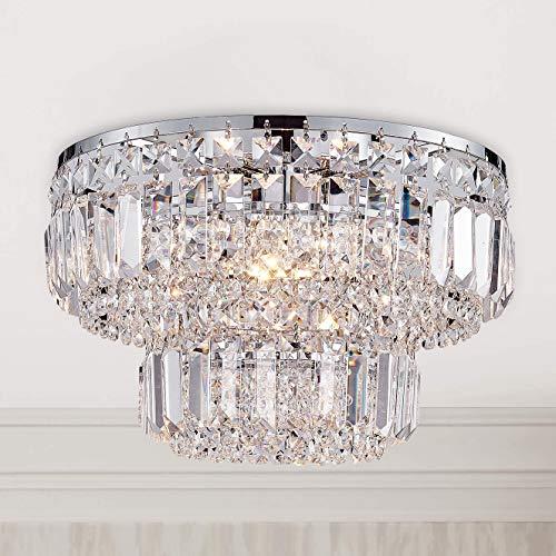 Moderner Chromkristall Unterputz Kronleuchter Beleuchtung LED Deckenleuchte Lampe für Esszimmer Badezimmer Schlafzimmer Wohnzimmer 4 G9 Lampen Erforderlicher Durchmesser 33 cm x Höhe 24 cm -