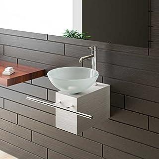 Aufsatzwaschbecken Satinierte Glaswaschschale Ø 38 mit Edelstahlkasten und Handtuchhalter von Alpenberger®