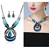 LCLrute Halskette Damen Blue Jewelry Sets Lila Emaille Schmuck Aussage Halskette und Waterdrop Ohrring Set Crystal Schmuck Set