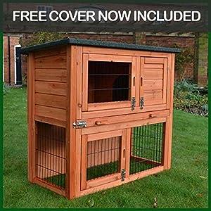 Rabbit Hutch Guinea Pig House Cage Pen With Built In Run (Rabbit Medium)