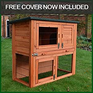 Rabbit Hutch Guinea Pig House Cage Pen With Built In Run (Rabbit Medium)