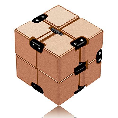 Funxim Infinity Cube Décompression Jouet Cube de l'infini, Stress de Jouet de Doigt de Fidget et soulagement d'inquiétude, tuant Le Temps Fidget Joue Le Cube Infini pour Le Personnel de Bureau (Or)