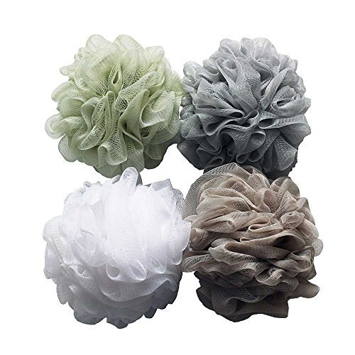 Bath Shower Sponge 4-Pack (60g/pcs)Pouf Loofahs Mesh Brush Shower Ball, Mesh Bath and Shower Sponge