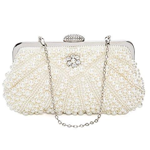 Womens Pearl Bead Rhinestone Evening Clutch Fashion Purse with Chain (White)