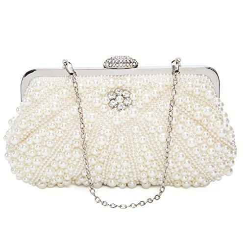 Beddingleer Damen Elegante Pearl Clutch Handtasche Unterarmtasche Abendtasche Schultertasche 20x14x4 cm (Glamour Kupplung Leder)