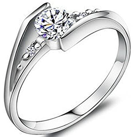 SaySure 100% Real 925 Sterling Silver Valentines Wedding & Engagement Ring