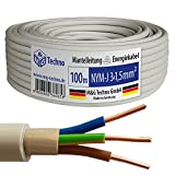 100m NYM-J 3x1,5 mm² Mantelleitung Elektro Strom Kabel OFC MADE IN GERMANY, Model 7344