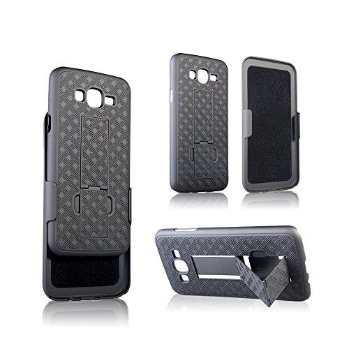 microseven Galaxy J7(2015)/J700Fall, [Stoßdämpfung/stoßabsorbierenden] Hybrid Dual Layer Rüstung Defender Schutzhülle für Galaxy J7(Boost Mobile, Virgin, T-Mobile), schwarz Virgin Mobile