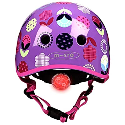 Micro Children's Deluxe Safety Helmet Floral Dot Scooting Bike Girls Medium 53-57Cm Rear Light Pinch Free by Micro