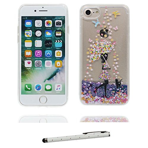 "iPhone 7 Coque, Skin Hard Clear étui iPhone 7, Design Glitter Bling Sparkles Shinny Flowing Apple iPhone 7 Case Cover 4.7"", Durable résistant aux chocs & stylet Heart Bling Umbrella Fille"