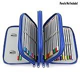 Sumnacon 72 trous Trousse/ Sac de crayon pour l'école et bureau avec Grand capacité Multi- couches (bleu)