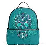 COOSUN Vektor-Zuckerschädel mit Ornament-Schule-Rucksack Leichte Canvas-Buch-Tasche für Junge Mädchen Kinder Multi