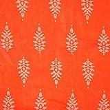 #8: Orange and White Sanganeri block Print Cotton fabric