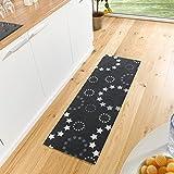 Zala Living Stars Waschbarer Küchenläufer, Polyamid, Schwarz/grau, 150 x 50 x 0.5 cm