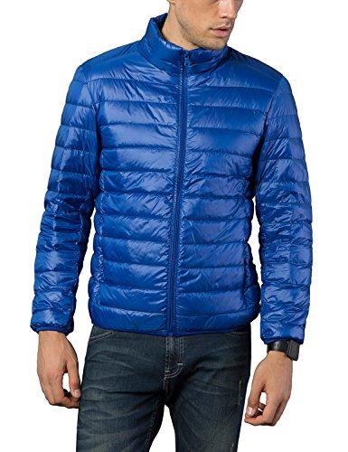 BELLOO Herren Ultraleichte dünne Daunenjacke Wattierte Jacke mit Stehkragen 4 Farben, Gr. XL bis 4XL Blau