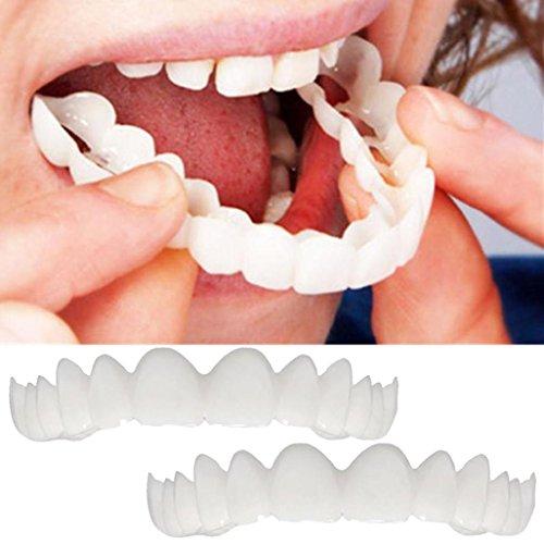 Vovotrade 2Pcs Zähne Top Cosmetic Veneer, natürliche kosmetische Zahnheilkunde Instant Smile Comfort Fit Flex kosmetische Zähne, am bequemsten Prothese Pflege kosmetische Zähne (weiss)