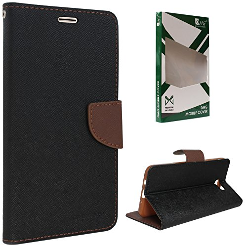 DMG Sturdy PU Leather Wallet Flip Book Cover Case for Samsung Galaxy On7 Prime (Black-Brown)