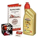 Ölwechselset Castrol Power1 10W-40 Öl + K&N Ölfilter für Yamaha WR 125 R/X, Bj. 09-15 (Typ DE07); Motoröl + Filter