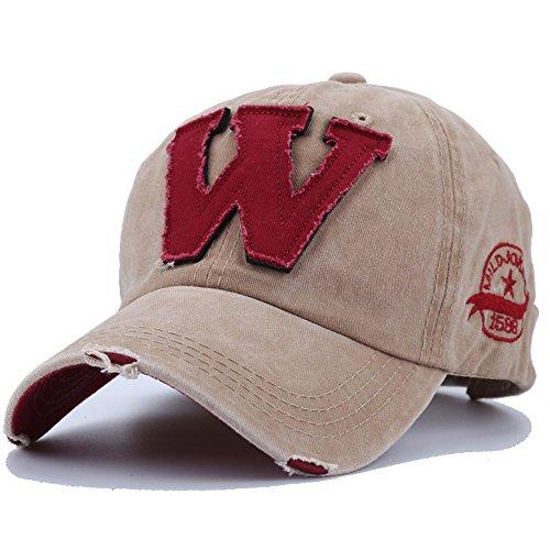 Hockey Buchstaben (Baseball Caps Buchstabe W Hockey Knochen Chapeu Snapback Hüte Autumn-Summer Männer Hip Hop Kappe für Frauen Neue Hut, Khaki)