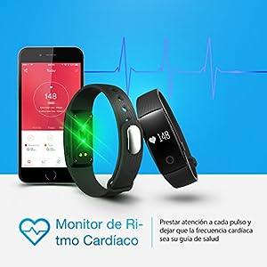 Mpow Pulsera Actividad Monitor de Pulso Cardíaco Pulsera Inteligente de Fitness Pulsómetro Bluetooth Rastreador de Salud con Monitor de Sueño Podómetro para Móvil Android y IOS【Negro Nueva Version】