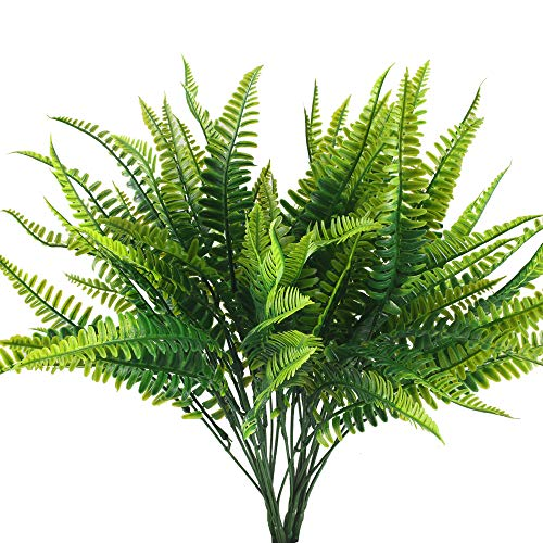 HUAESIN 4pcs Farn Künstlich Pflanzen Aussenbereich Kunstpflanze Wetterfest Künstliche Balkonpflanzen Unechte Grünpflanze für Balkon Draußen Garten Topf Hochzeit Dekoration