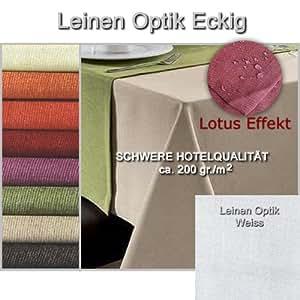 Tischdecke Leinenoptik ECKIG 130x220 130 x 220 cm Weiss Leinen Optik Lotus Effekt Tischwäsche von DecoHometextil