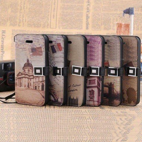 Housse en cuir Retro National Landmark Series PU pour iPhone 5 Motif Arc de Triomphe