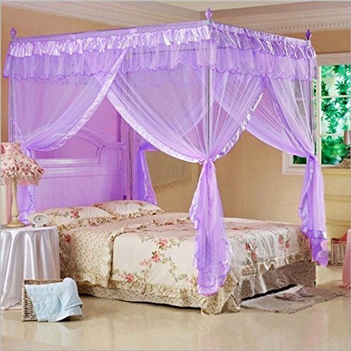 Jeteven Moskitonetz Insektennetz violette Baldachin Dreitür Betthimmel Palace-Stil mit Edelstahlrohr für Einzel oder Doppelbetten 120X200cm