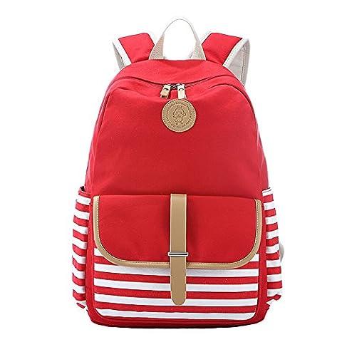 YSBER Preppy French Breton Nautique à rayures sac à dos Sac à dos Marine Sailor Marine Stripy sacs scolaires pour les adolescents et les garçons (Rouge)