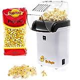 BaboTech Heißluft Popcornmaschine für Zuhause ohne Öl - klein und im Retro Design - weniger Kalorien toller Geschmack + Gratis Popcorn Mais 500g