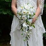 CJJC Wasserfall Stil Handgemachte Künstliche Hochzeit Blumen Braut Brautjungfern Seide Rose Bouquets Für Party Hochzeit Dekor, Multi Design Optional