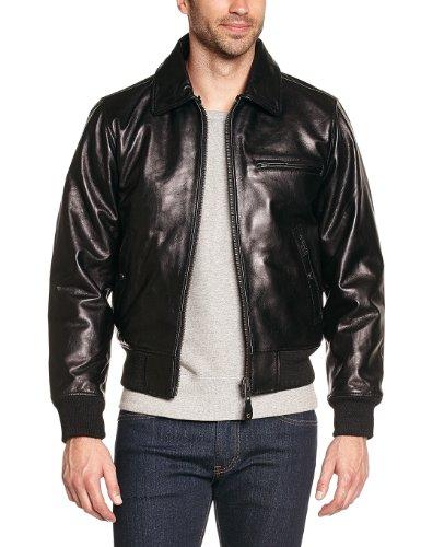 Schott Nyc Lc1380 - Veste en cuir - Manches longues - Homme Noir (Black)